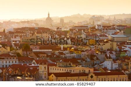View of central part of Lisbon,Portugal at sunset - stock photo