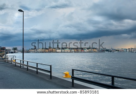 View of central part of Stockholm,Sweden on a cloudy day - stock photo