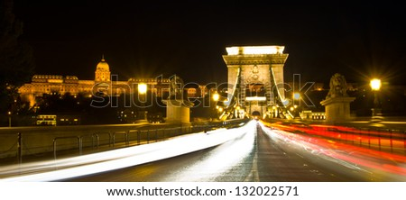 view of Chain bridge and Castle of Budapest