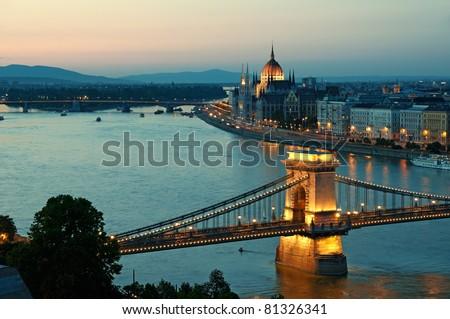 View of Chain Bridge, Hungarian Parliament and River Danube form Buda Castle. - stock photo