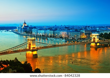 View of Chain Bridge, Hungarian Parliament and River Danube form Buda Castle. - stock photo
