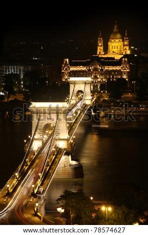 view of chain bridge in Budapest, Hungary - stock photo