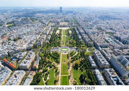 View of Champ de Mars from the Eiffel Tower in Paris, France - stock photo