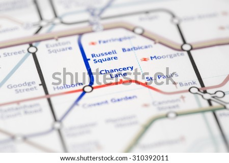 View of Chancery Lane station on a London subway map. (selective colouring) - stock photo