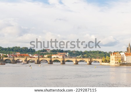 View of Charles Bridge on the river Vltava, Czech Republic - stock photo