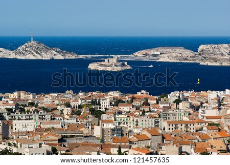 View of Chateau d'If in Marseille from the Notre-Dame de la Garde - stock photo