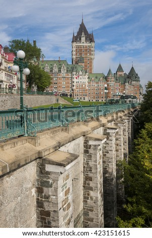 View of Chateau Frontenac, Ville de Quebec, canada. - stock photo