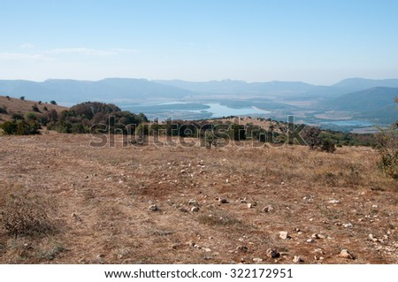 View of Chernorechensk reservoir from the top of Bald mountain, Crimea