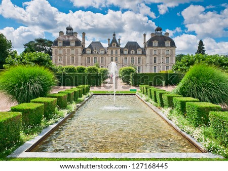 View of Cheverny Chateau from apprentice's garden, France - stock photo