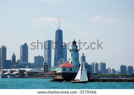 view of Chicago city - stock photo