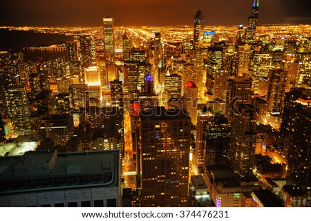 View of Chicago downtown at night from high above
