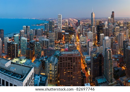 View  of Chicago downtown at twilight from high above. - stock photo