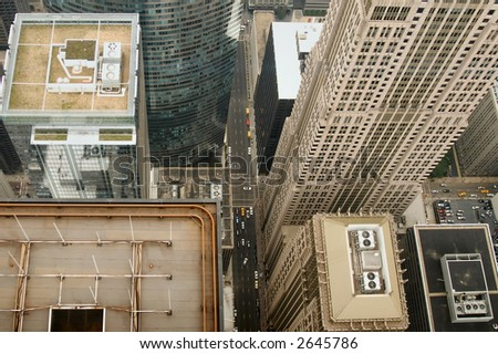 View of Chicago from the top of the Sears Tower, Illinois - stock photo