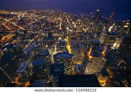 View of Chicago, Illinois, USA from above - stock photo