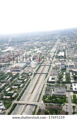 View of Chicago's expressways from above - stock photo