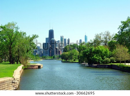 View of Chicago skyscrapers from Lincoln Park. - stock photo