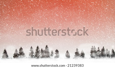 View of christmas trees through snow. Red sky, snow, snowflakes, trees and fog.