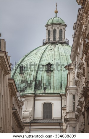 View of Church in the Center of Vienna in Summer - stock photo