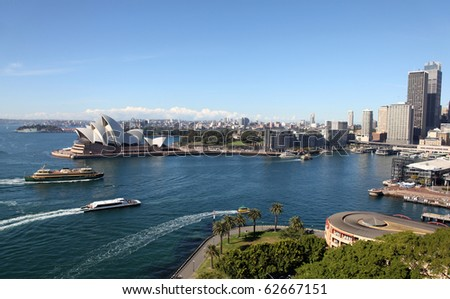 View of Circular Quay Sydney Australia from the Harbour Bridge. Sydney Australia - stock photo
