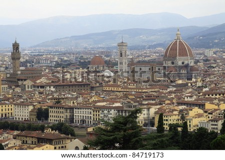 View of city Florence in Italy