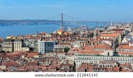 view of city from the top of Rua Augusta Arch, Lisbon, Portugal - stock photo