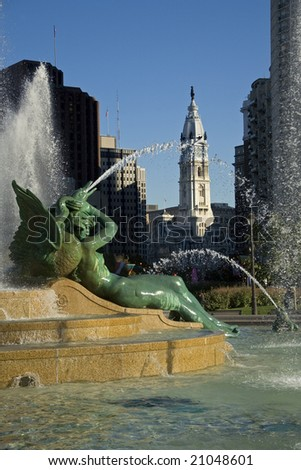 View of City Hall from the Logan Square Fountain In Philadelphia - stock photo