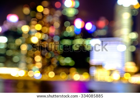 View of city night abstract circularlights blurred bokeh background. - stock photo