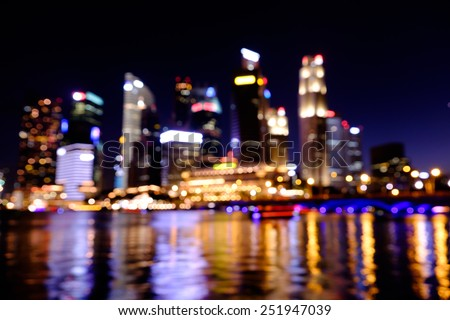 View of city night lights blurred bokeh background - stock photo