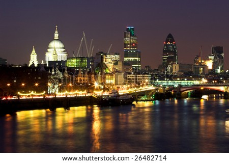 View of City of London at night - stock photo