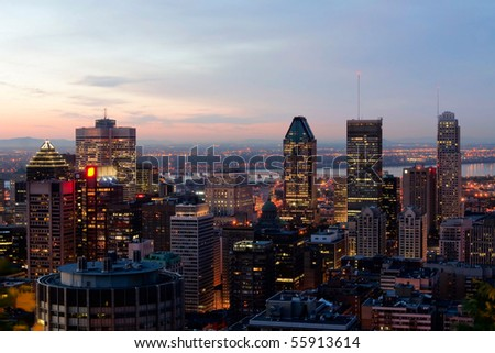View of Cityscape of Montreal at Dusk