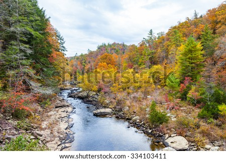 View of Clear Creek from Lilly Bridge at Obed Wild and Scenic River - stock photo