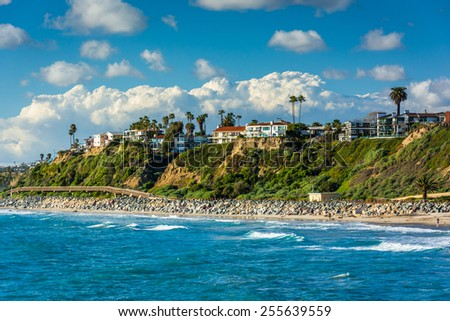 View of cliffs along the beach in San Clemente, California. - stock photo