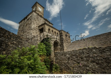 View of Clock tower located in Fortress of old town Gjirokastra - stock photo