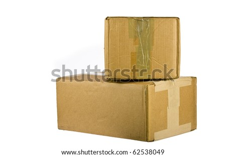 view of closed cardboard box on white background - stock photo
