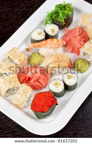 view of closeup japanese sushi set at plate