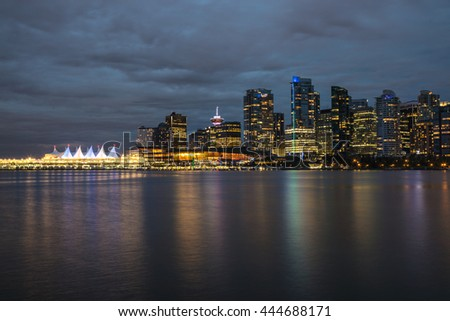 View of Coal Harbour and Canada Place in Downtown Vancouver, British Columbia, Canada, after Sunset.
