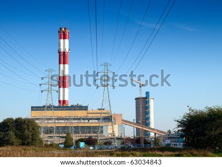 View of coal power plant - stock photo