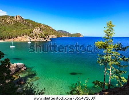 View of coast of Baikal lake - stock photo