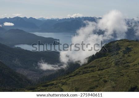 View of coast, Skeena-Queen Charlotte Regional District, Haida Gwaii, Graham Island, British Columbia, Canada - stock photo