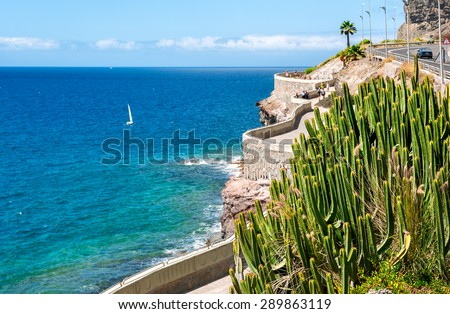 View of coastline from Puerto Rico to Amadores beach. Gran Canaria, Canary islands, Spain - stock photo