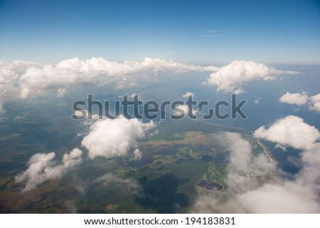 View of coastline from the air. This is Lithuania. - stock photo