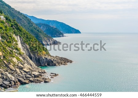 view of coastline of cinque terre national park in italy.