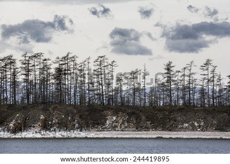 View of coastline of north siberian lake in Russia - stock photo