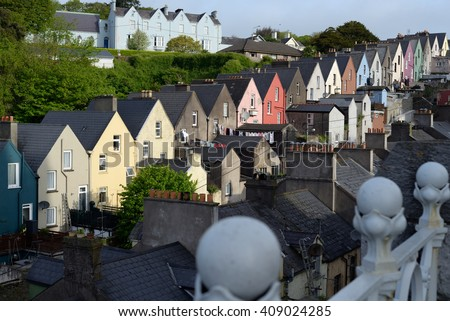 view of cobh town houses in county cork ireland from the catherdral - stock photo
