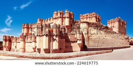 View of Coca Castle, province of Segovia, central Spain - stock photo