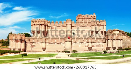 View of Coca Castle, province of Segovia, central Spain - stock photo
