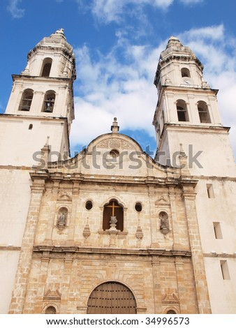 View of colonial church in the center of the city of Campeche, Yucatan, Mexico. - stock photo