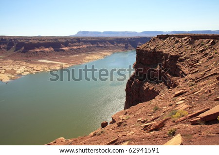 View of Colorado River from Glen Canyon Recreation Area in Utah - stock photo