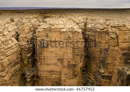 View of Colorado River in Grand Canyon northern end wall - stock photo