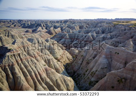 View of colored hills in Badlands National Park, South Dakota, United States.